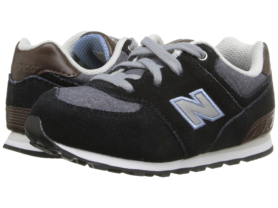 New Balance Kids KL574 (Infant/Toddler) (Black/Grey) Boys Shoes
