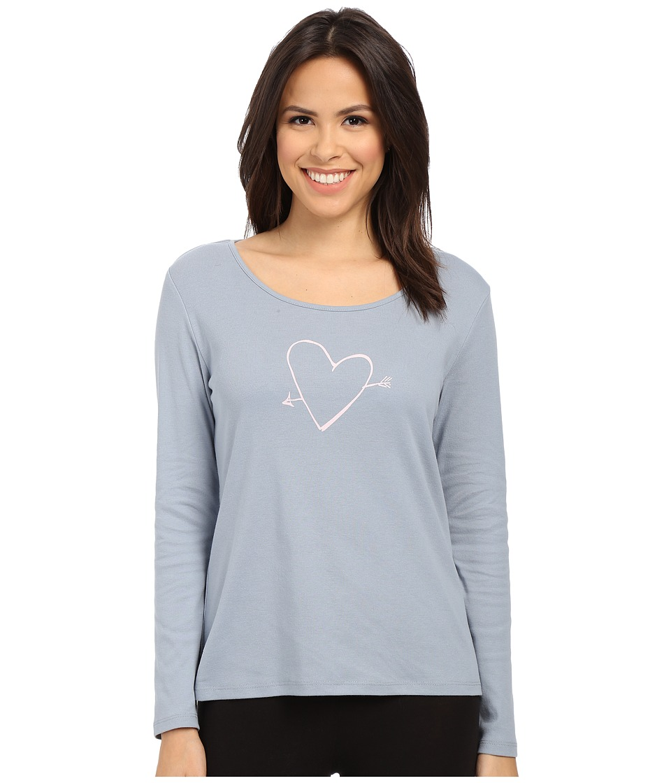 Jockey - Long Sleeve Top with Screenprint (Silk Grey) Women's Pajama