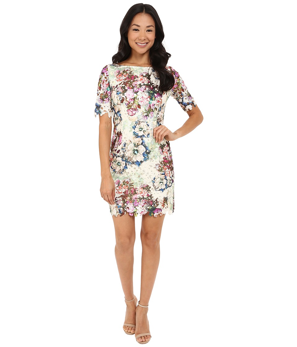 Tahari by ASL Petite - Petite Printed Lace 3/4 Sleeve Dress (Taupe/Magenta/Mint) Women's Dress