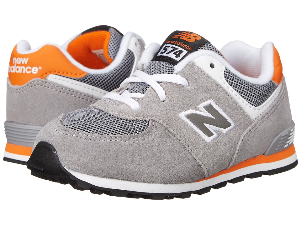 New Balance Kids - KL574 (Infant/Toddler) (Grey/Orange 1) Boys Shoes