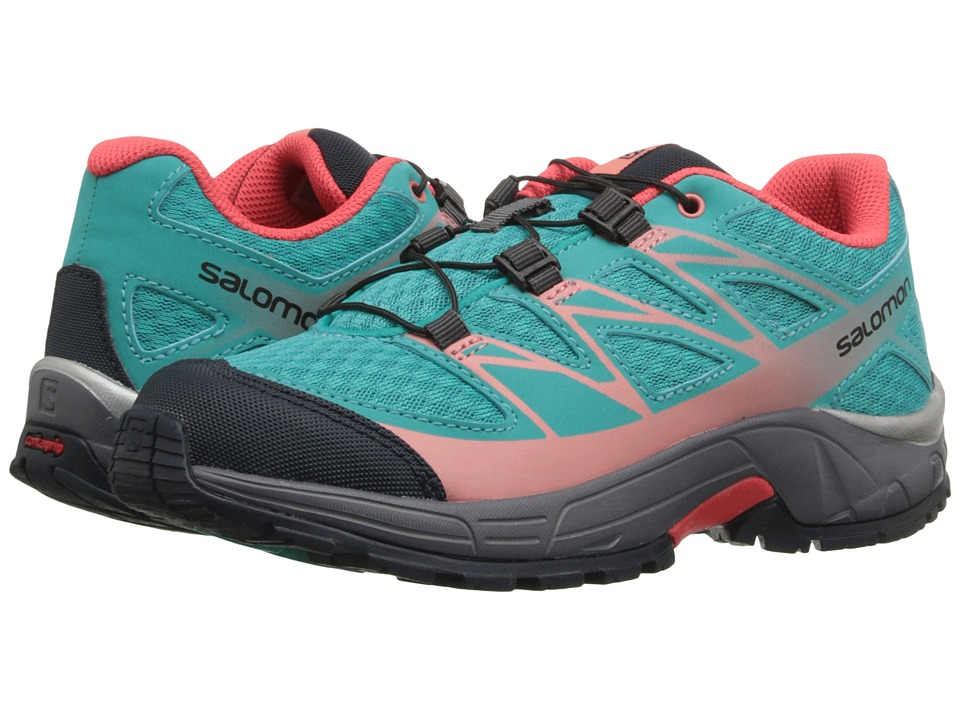 Salomon Kids - Wings (Little Kid/Big Kid) (Teal Blue F/Dark Cloud/Melon Bloom) Girls Shoes