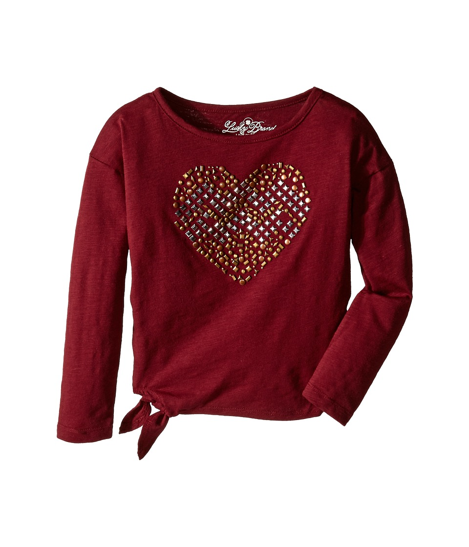 Lucky Brand Kids - Stud My Heart Tee (Little Kids) (Cranberry Crush) Girl's T Shirt