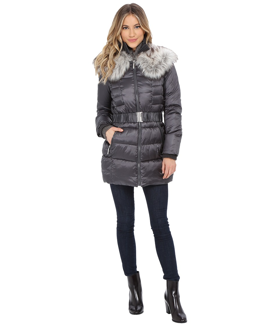 Betsey Johnson - Belted Puffer (Gunmetal) Women's Coat