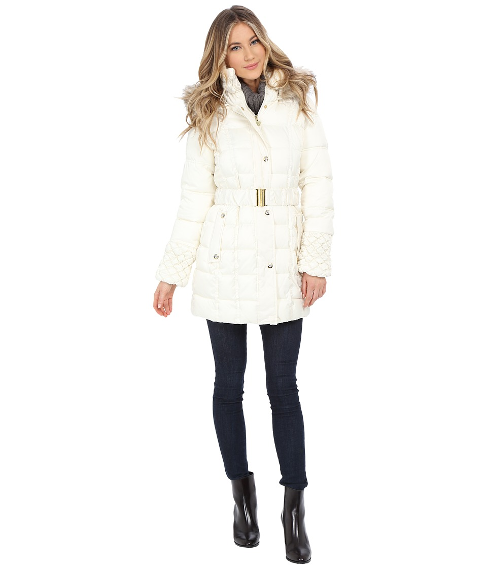 Betsey Johnson - Belted Puffer (Ivory) Women's Coat