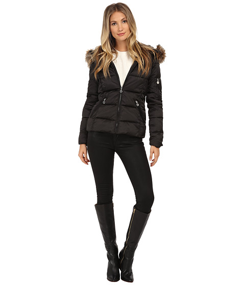 Betsey Johnson - Puffer with Faux Fur Trim (Black) Women's Clothing