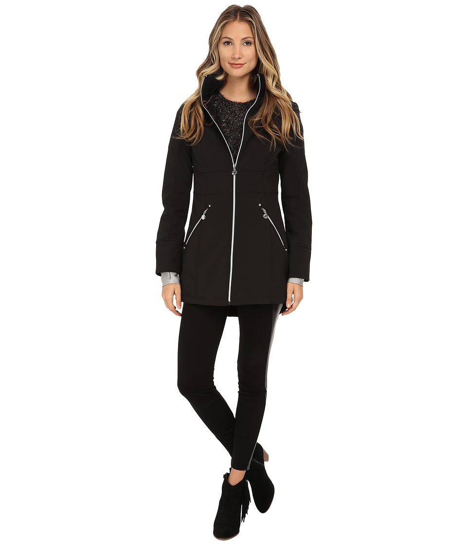 Betsey Johnson - Softshell Hooded Zip Front (Black) Women's Clothing