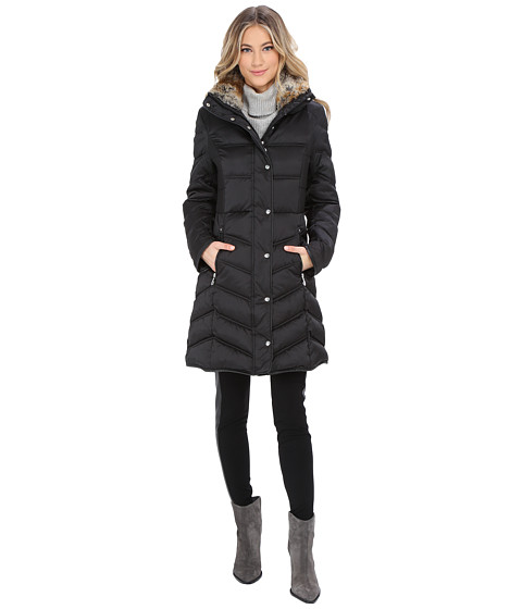 Betsey Johnson - 3/4 Puffer with Faux Fur Trim (Black) Women