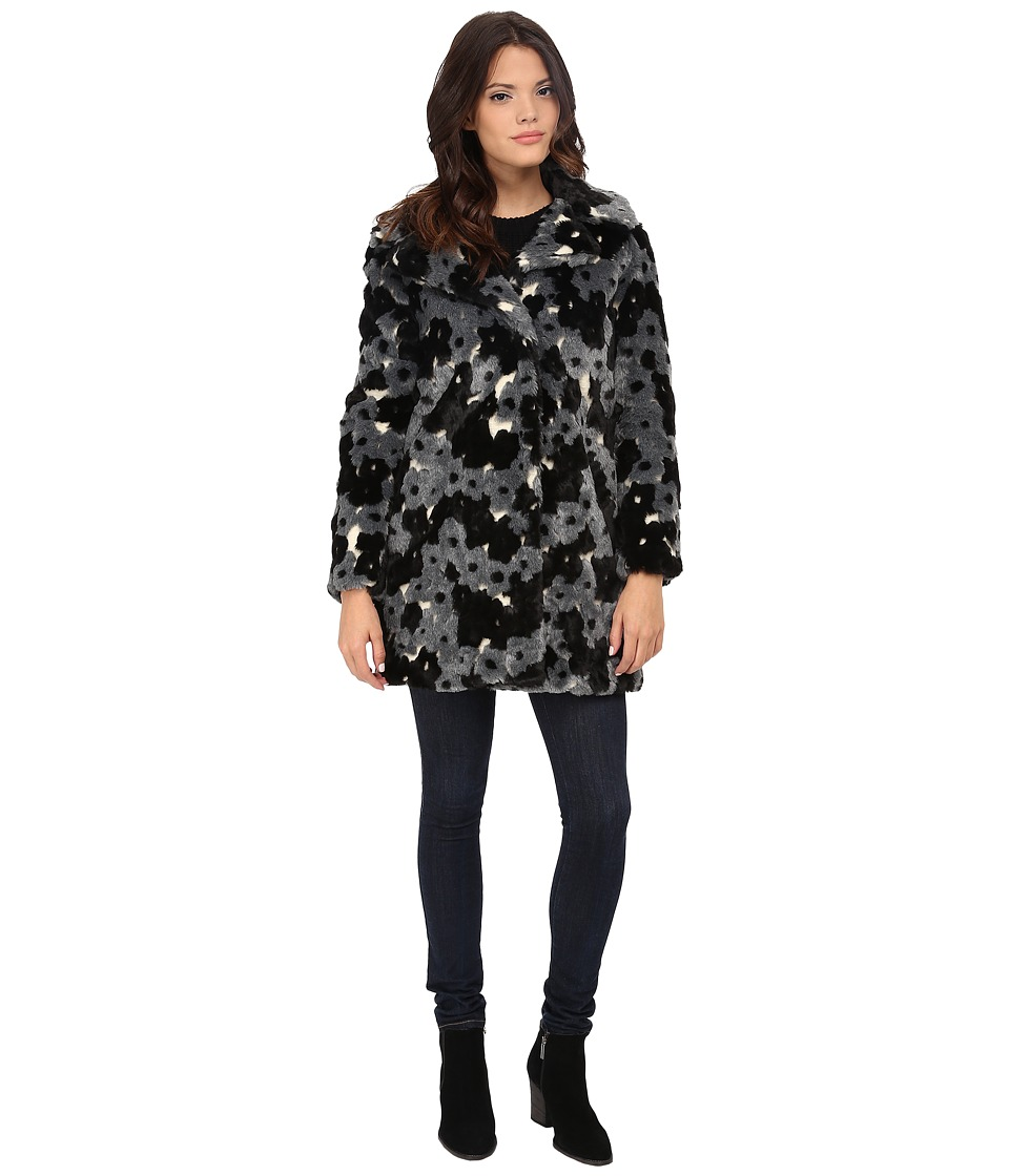 Betsey Johnson - Happy Flower Faux Fur (Black/Grey) Women's Clothing
