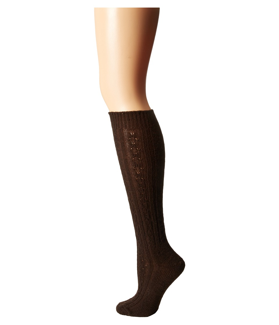Wigwam - Cable Knee Highs Single Pack (Brown) Women's Knee High Socks Shoes