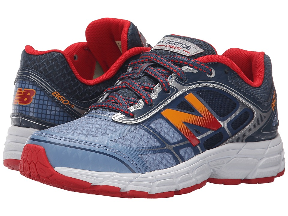 New Balance Kids KJ860v3 (Little Kid/Big Kid) (Grey/Red) Boys Shoes