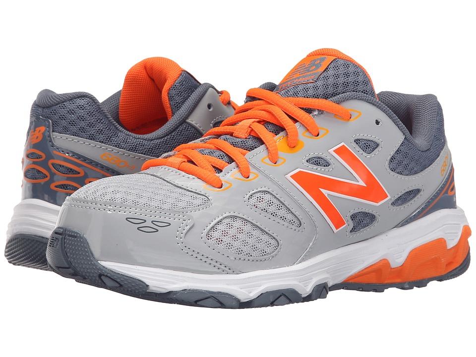New Balance Kids - KR680 (Little Kid/Big Kid) (Grey/Orange) Boys Shoes
