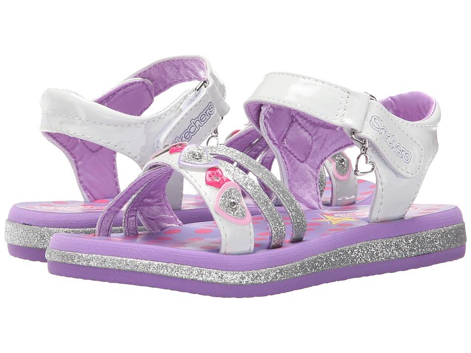 SKECHERS KIDS - Sunnies 10592L Lights (Little Kid) (White/Lavendar) Girls Shoes