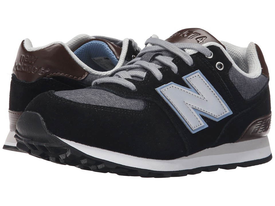 New Balance Kids - KL574 (Big Kid) (Black/Grey) Boys Shoes