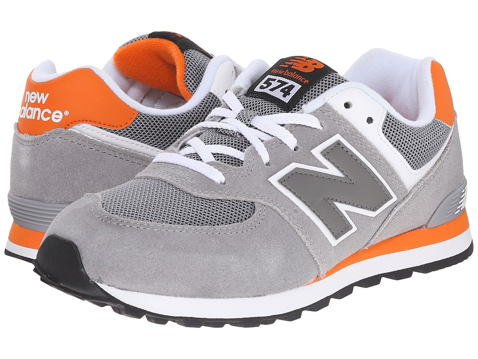 New Balance Kids - KL574 (Big Kid) (Grey/Orange 1) Boys Shoes