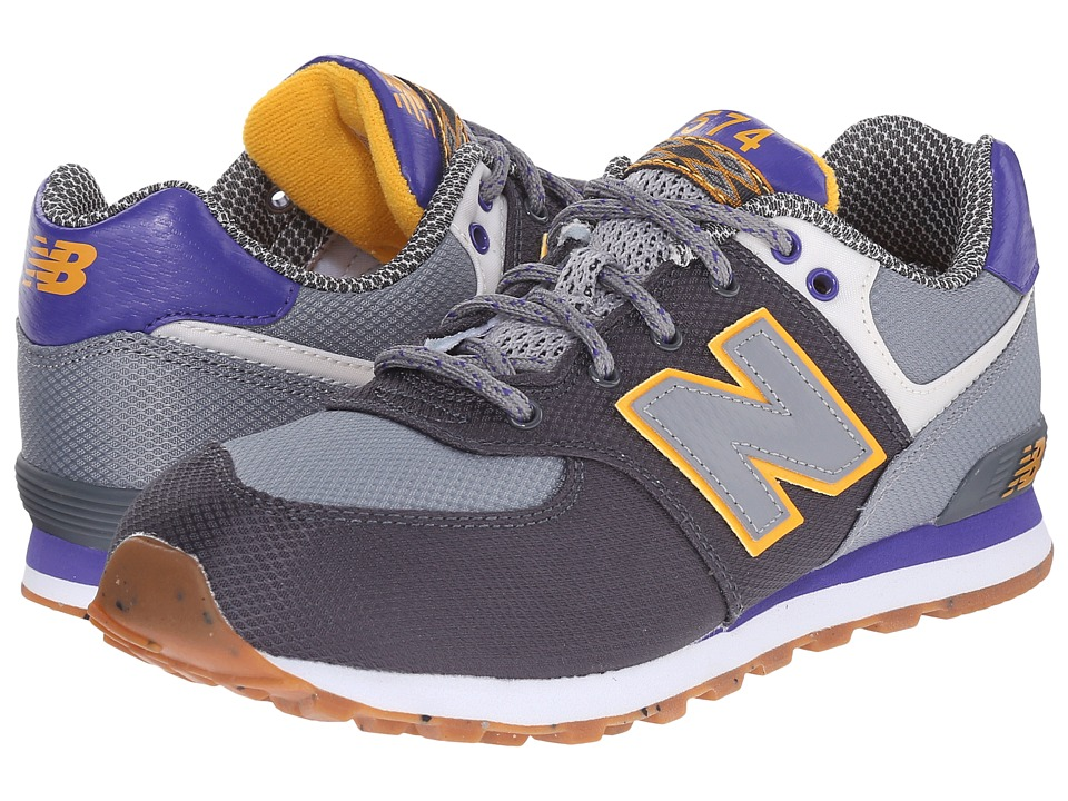 New Balance Kids - KL574 (Big Kid) (Grey/Purple) Boys Shoes