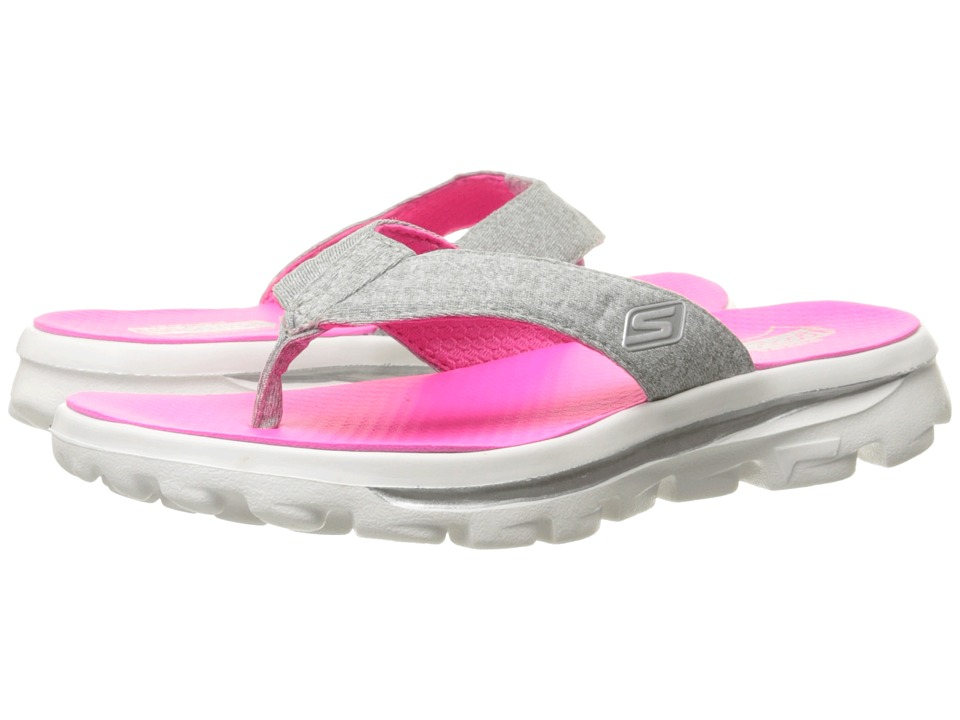 SKECHERS KIDS - Go Walk Move - Solstice 81063L (Little Kid/Big Kid) (Grey/Hot Pink) Girl's Shoes
