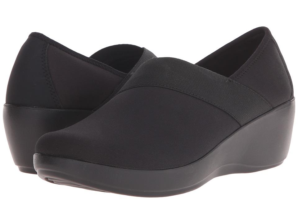 Crocs Busy Day Stretch Asymmetrical Wedge (Black/Black) Women