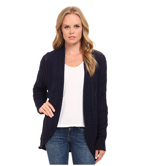 Pink Rose - Long Sleeve Color Block Sweater Cardigan (Navy) Women's Sweater