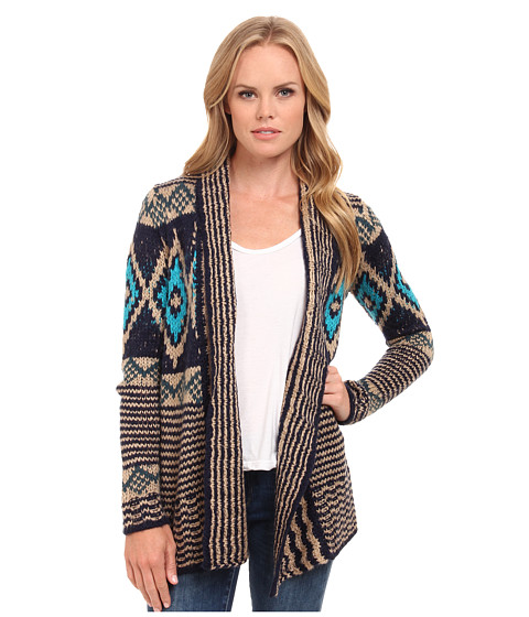 Pink Rose - Long Sleeve Novelty Open Sweater Cardigan (Tapestry Navy Combo) Women's Sweater