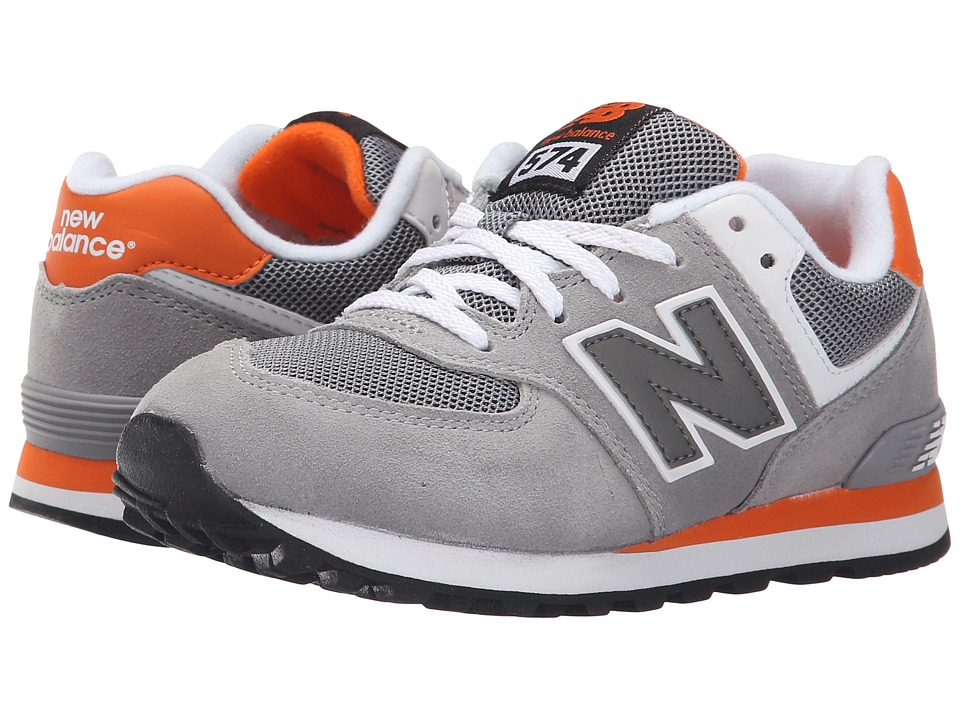 New Balance Kids - KL574 (Little Kid) (Grey/Orange 1) Boys Shoes