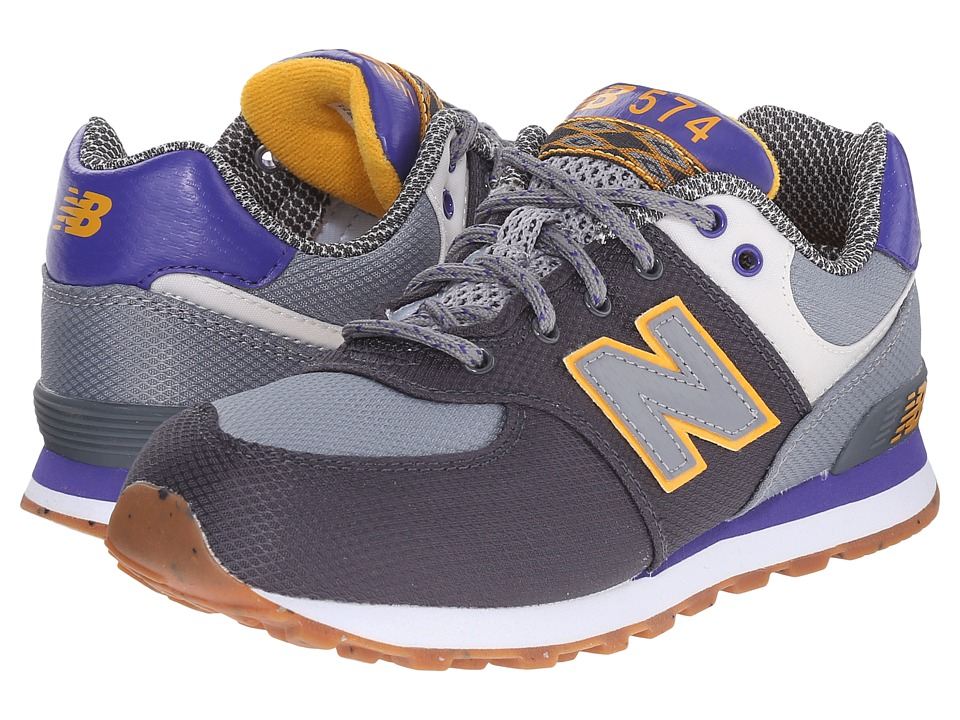 New Balance Kids - KL574 (Little Kid) (Grey/Purple) Boys Shoes