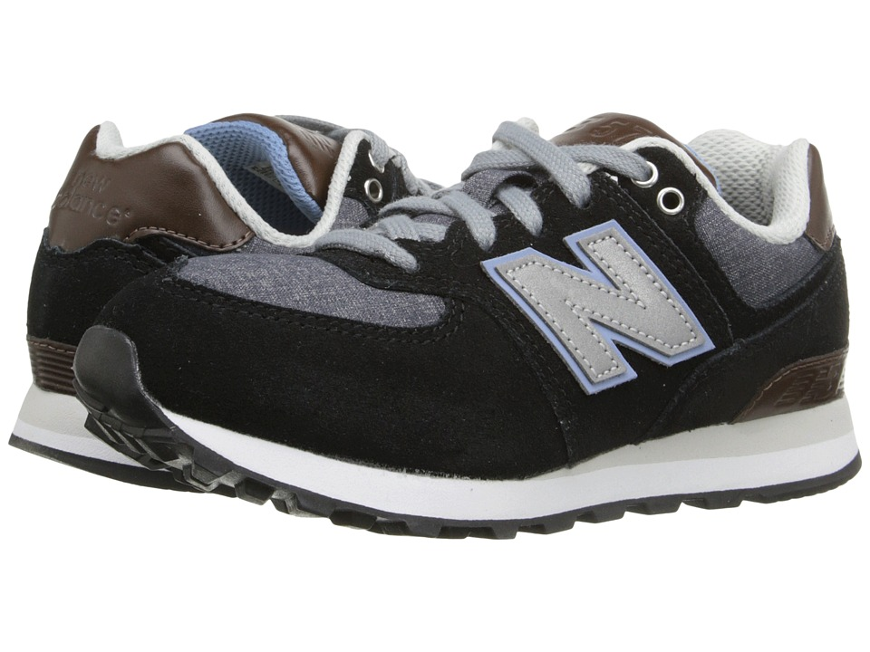 New Balance Kids - KL574 (Little Kid) (Black/Grey) Boys Shoes