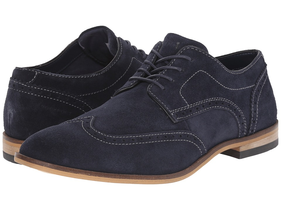 Rockport - Birch Lake Wing (New Dress Blues Suede) Men's Lace Up Wing Tip Shoes