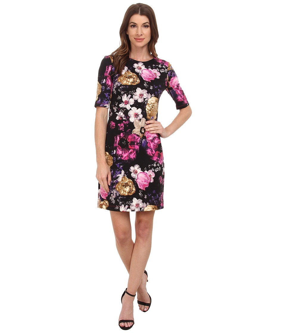 Vince Camuto - 3/4 Sleeve Floral Printed Ponte Dress (Print) Women's Dress