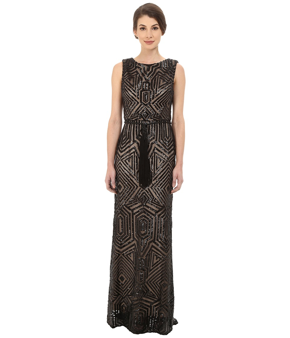 Vince Camuto - All Over Geometric Sequin Gown w/ Fringe Sash (Black) Women's Dress