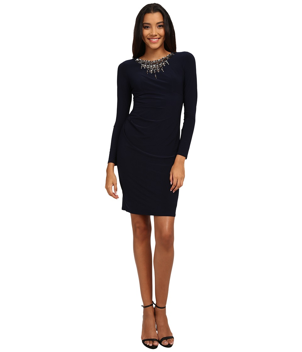 Vince Camuto - Long Sleeve Jersey Dress w/ Heavily Embellished Neckline (Navy) Women's Dress