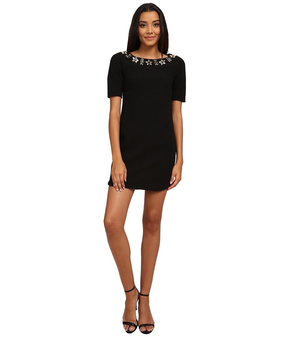 Vince Camuto 3/4 Sleeve Crepe Dress w/ Beaded Neckline (Black) Women