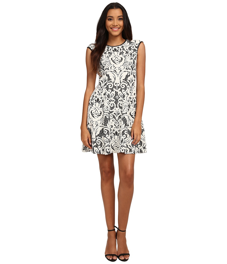 Vince Camuto Lace Fit Flare w/ Pleather Trim (Black/Ivory) Women