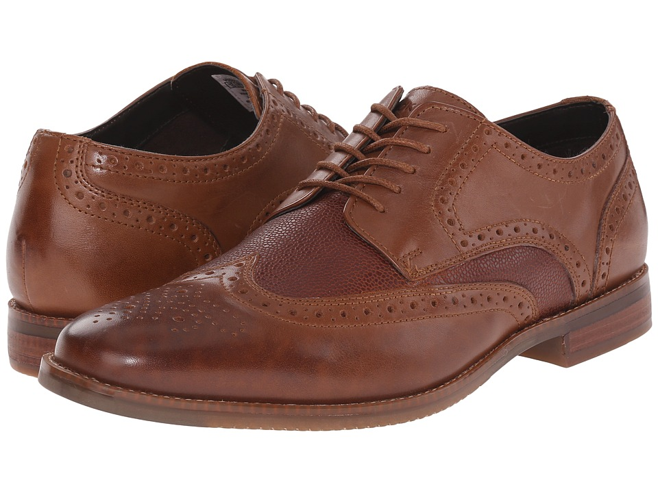 Rockport - Style Purpose Wingtip (Cognac/Scotchgrain) Men's Lace Up Wing Tip Shoes