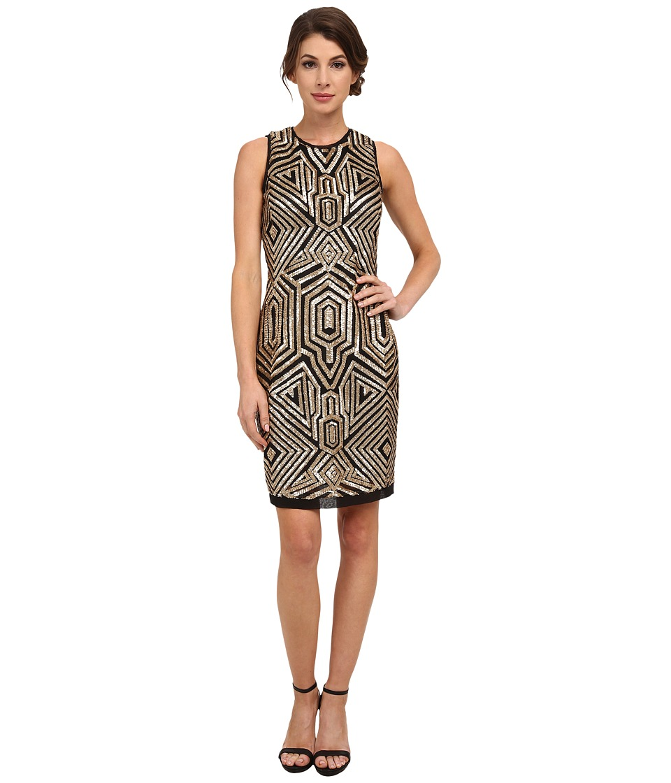 Vince Camuto - Sleeveless Geometric Sequin Sheath (Black/Gold) Women's Dress