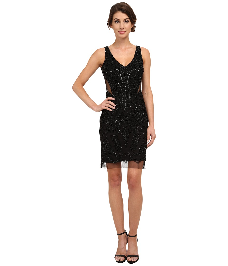 Adrianna Papell - Fully Beaded Halter Cocktail Dress (Black) Women's Dress