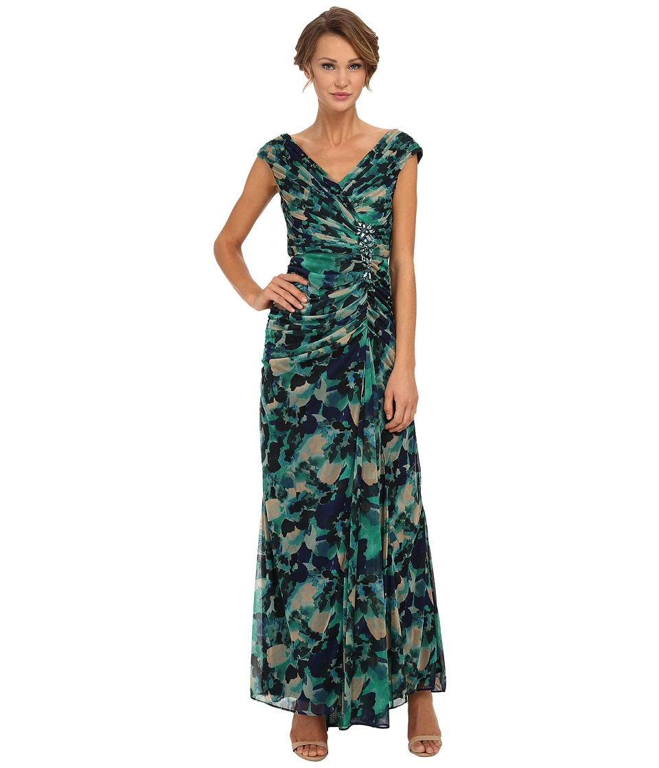 Adrianna Papell - Faux Wrap Front Printed Stretch Tulle Draped Gown w/ Jeweled Brooch and Extended Cap Sleeve (Green Multi) Women's Dress