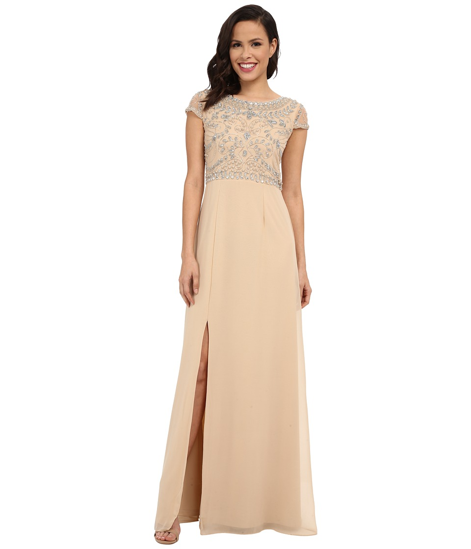 Adrianna Papell - Sleeveless Beaded Bodice Gown (Nude) Women's Dress