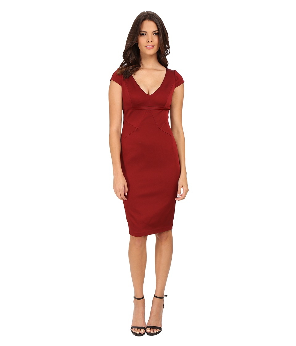Adrianna Papell Cap Sleeve Stretch Ottoman Seamed Cocktail Dress w/ Exposed Back Zipper (Cranberry) Women
