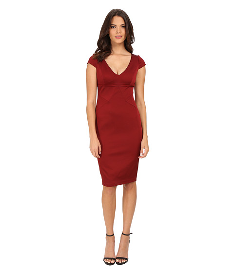 Adrianna Papell - Cap Sleeve Stretch Ottoman Seamed Cocktail Dress w/ Exposed Back Zipper (Cranberry) Women's Dress