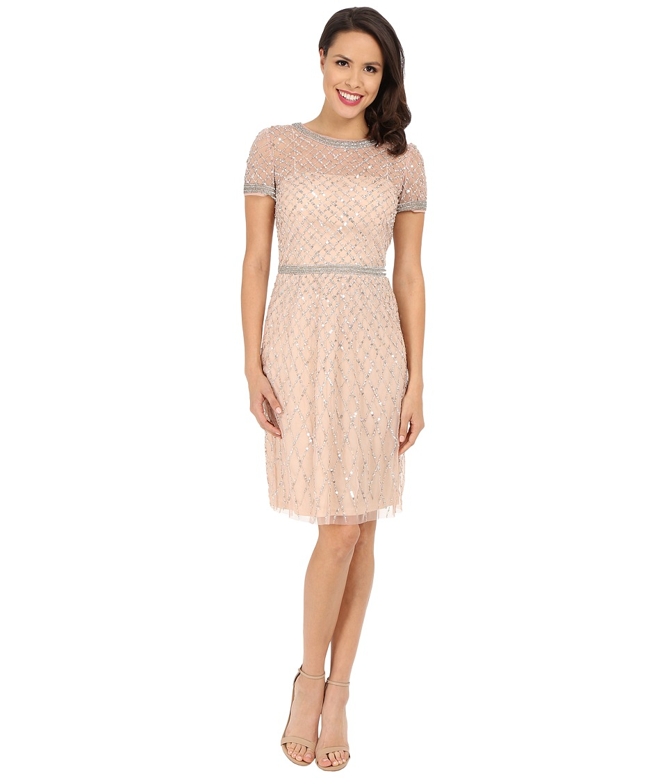 Adrianna Papell - Short Sleeve Fully Beaded Cocktail Dress (Blush) Women's Dress