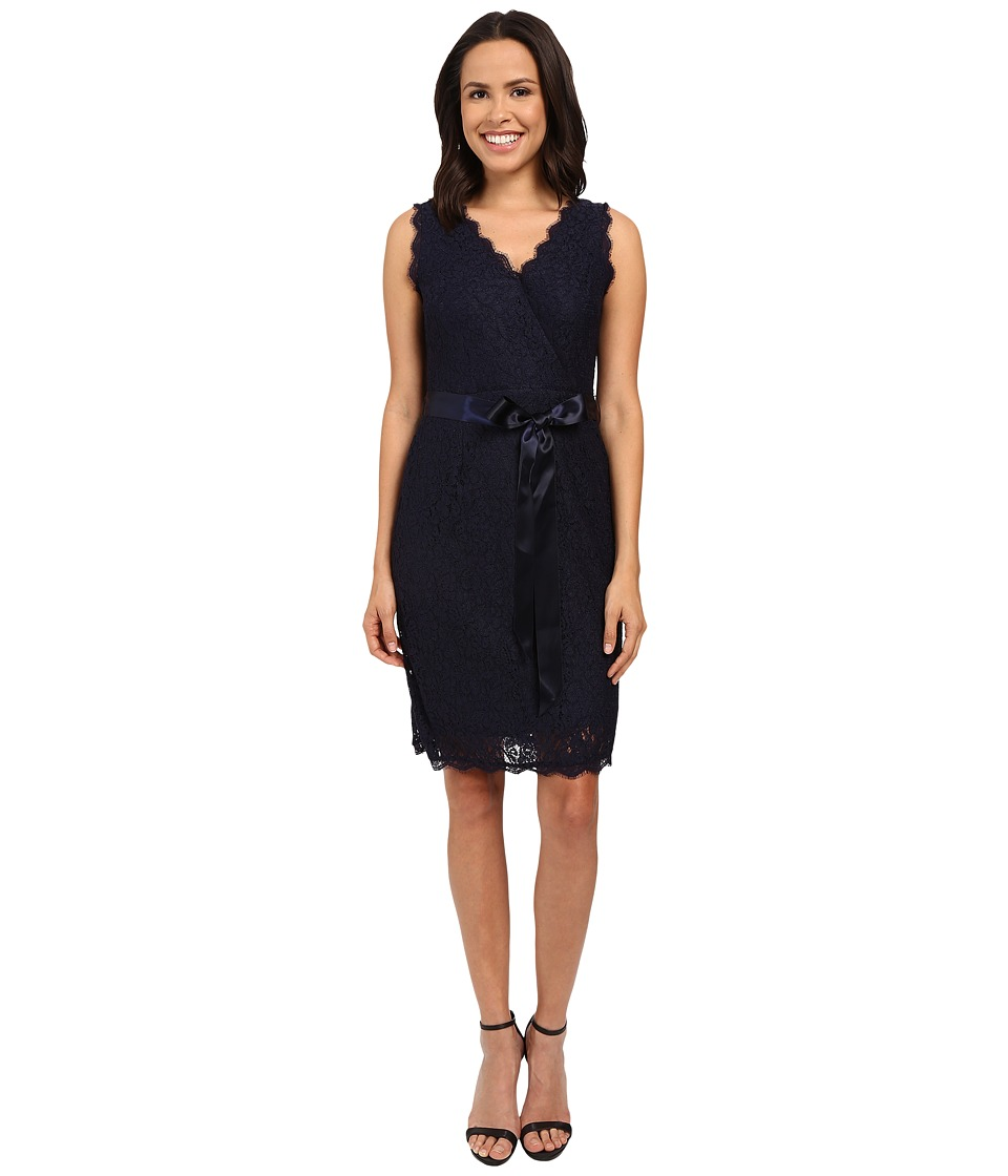 Adrianna Papell - Sleeveless Wrap Front Lace Cocktail Dress (Navy) Women's Dress
