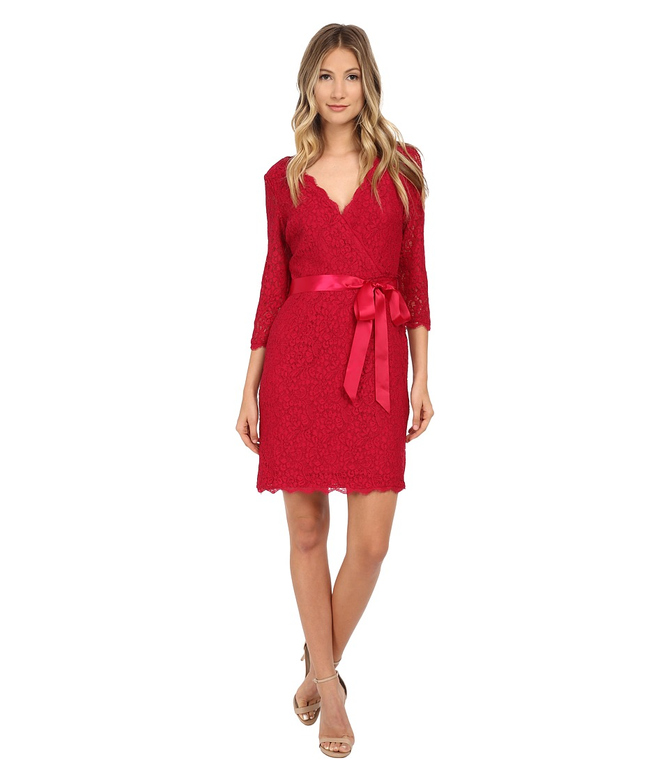 Adrianna Papell - Long Sleeve Wrap Front Lace Cocktail Dress (Radish) Women's Dress