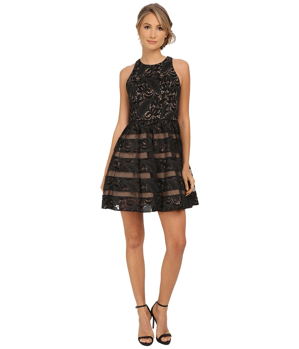 Aidan Mattox Sleeveless Lace Cocktail Dress w/ Illusion (Black Nude) Women