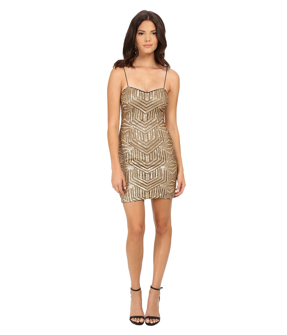 Aidan Mattox Sequin Bead Slip Dress (Gold) Women