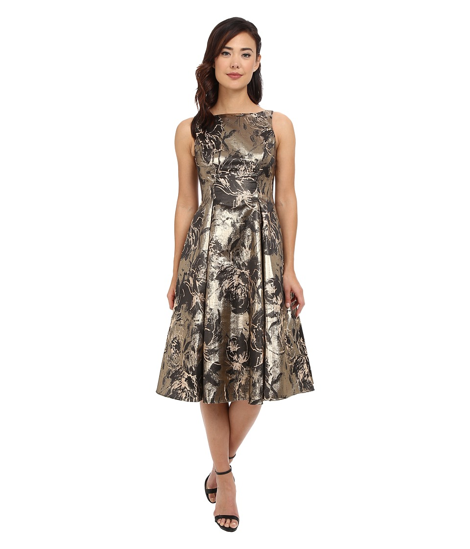 Aidan Mattox - Printed Jacquard Tea Length Cocktail Dress (Gold) Women's Dress