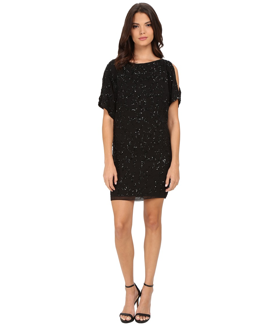 Aidan Mattox Cold Shoulder Beaded Cocktail Dress (Black) Women