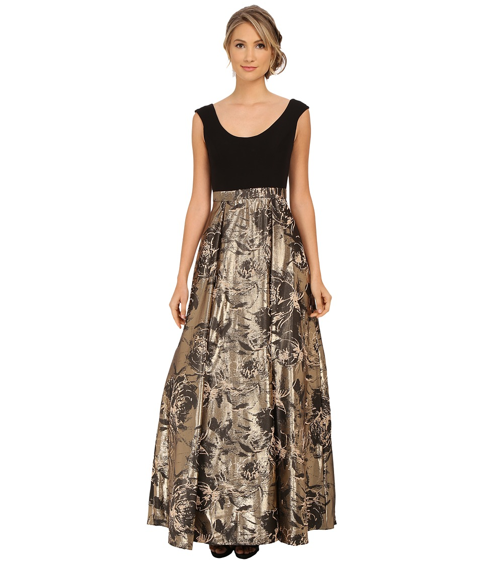 Aidan Mattox - Cap Sleeve Ballgown w/ Jacquard Foil Skirt (Black/Gold) Women's Dress