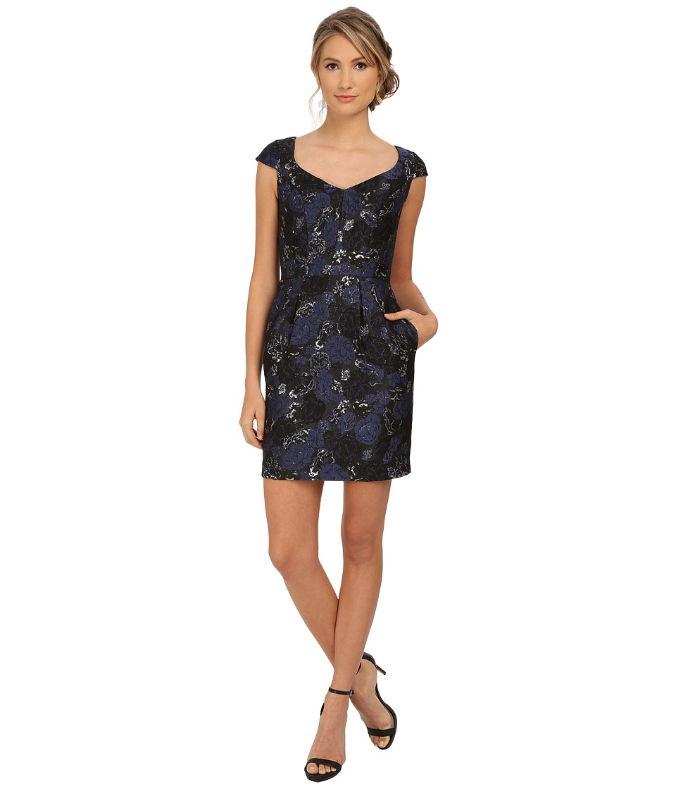 Aidan Mattox - Cap Sleeve Foil Jacquard Cocktail Dress (Blue/Black) Women's Dress
