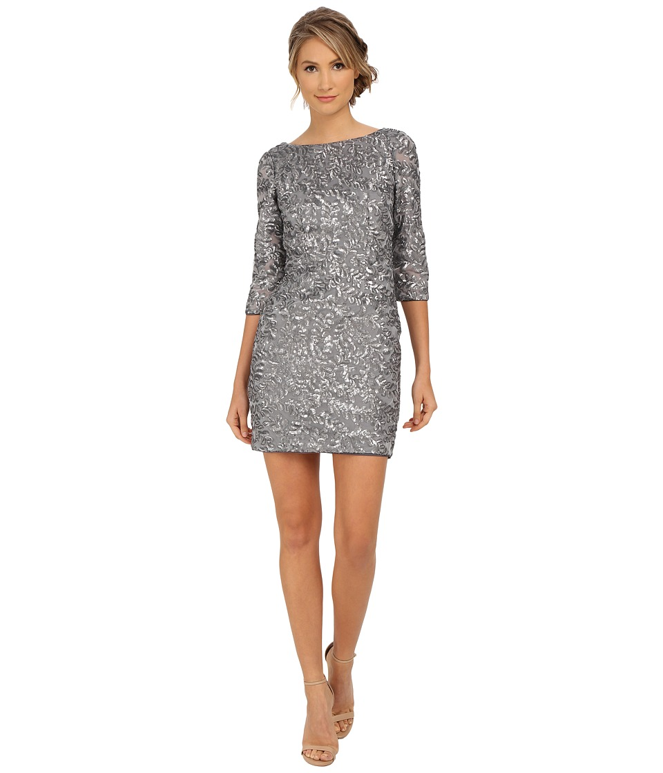 Aidan Mattox Beaded 3/4 Sleeve Cocktail Dress (Gunmetal) Women