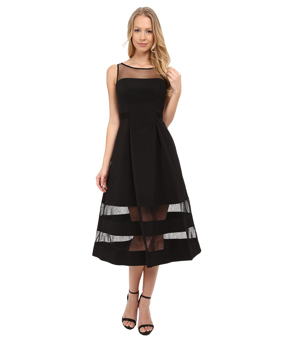 Aidan Mattox Cocktail Dress w/ Sheer Illusion Panels (Black) Women